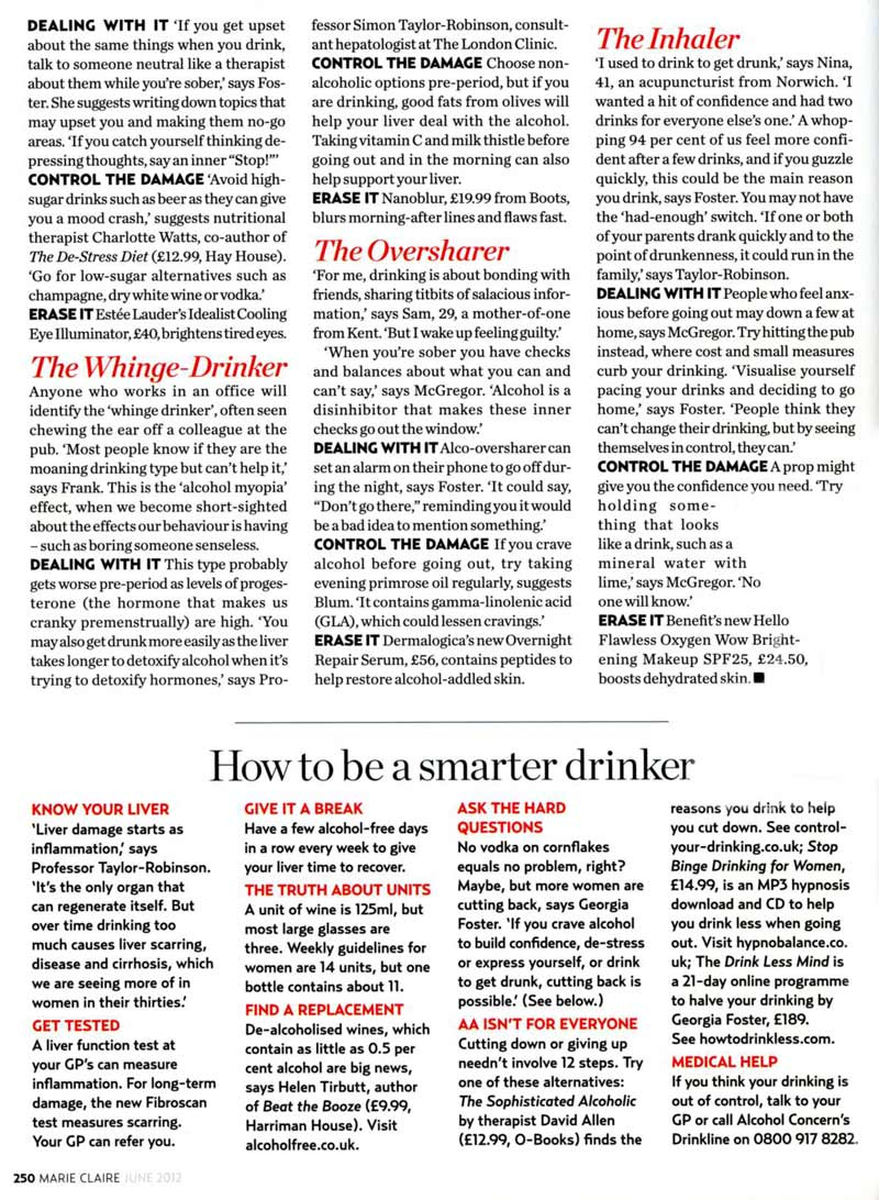 Whinge Drinker, Oversharer, Dancing Queen article in the Marie Claire Magazine