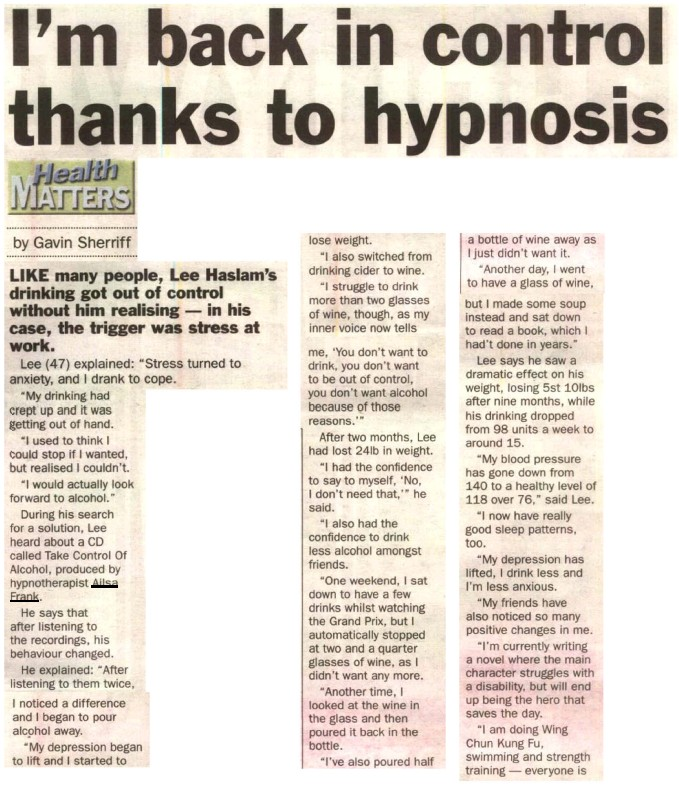 I'm back in control thanks to hypnosis - Lee Haslam story on The Weekly News Page 1