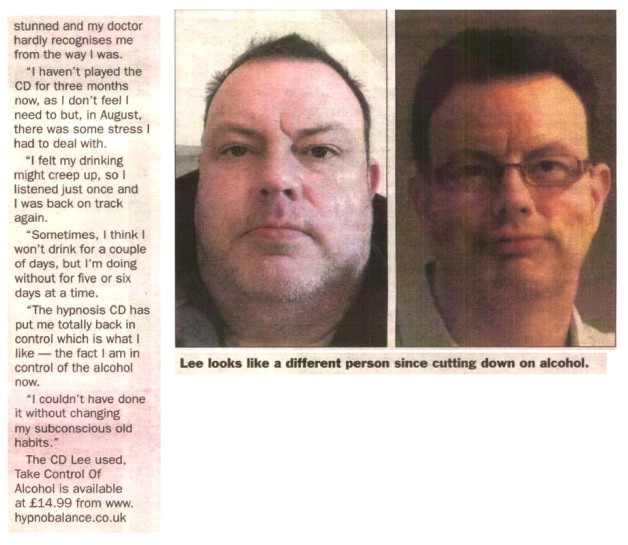 I'm back in control thanks to hypnosis - Lee Haslam story on The Weekly News page 2