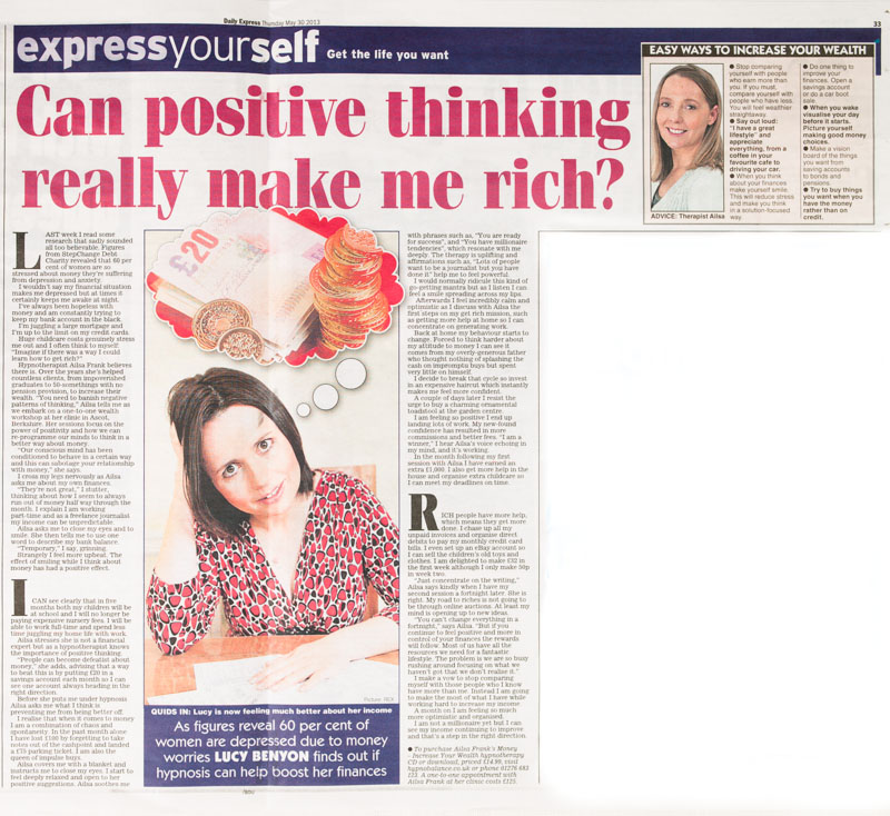Can Positive thinking really make me rich Ailsa Frank in the Daily Express newspaper