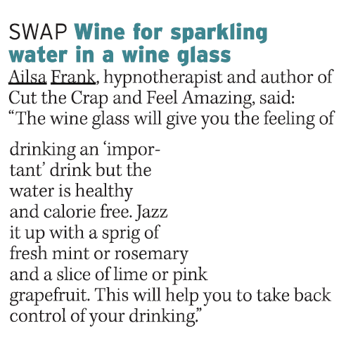 Swap wine for sparkling water in a wine glass