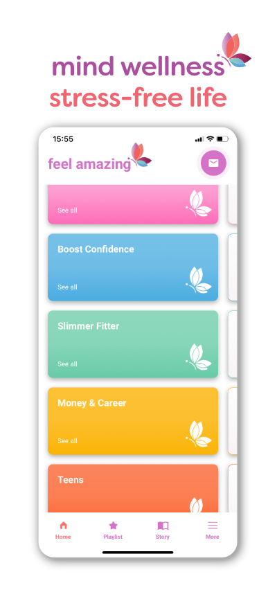 feel amazing app categories screenshot